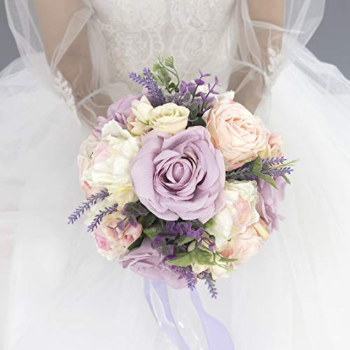 Abbie Home 9 inches Lavender Bridal Bouquet-Real Touch Blooming Pink White Roses Wedding Flowers with Green Branches Decoration