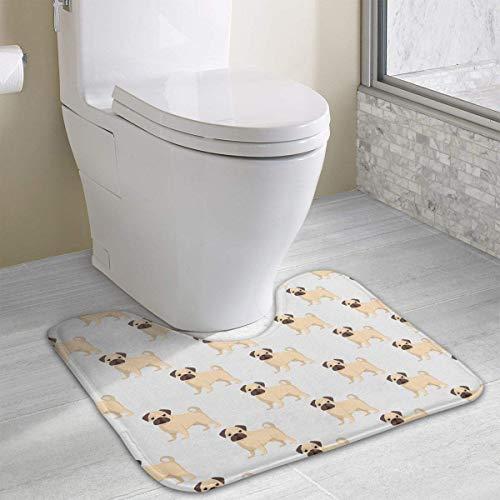 Hoklcvd Pattern of Dogs U-Shaped Toilet Floor Rug Non-Slip Toilet Carpets Bath Mats Rug