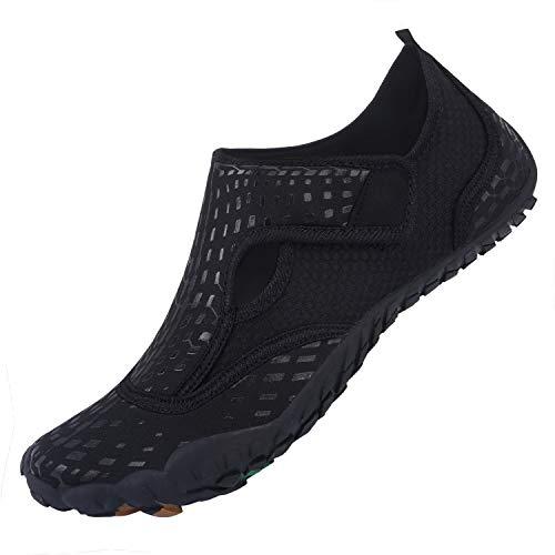 L-RUN Womens Mens Water Shoes for Swim Surf Black Women 12.5, Men 10.5 M US