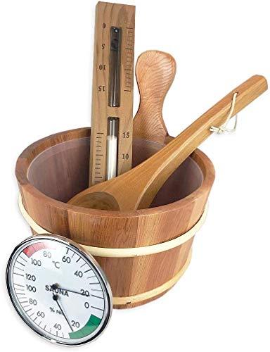 SudoreWell® Saunakübel Set Thermoholz Premium 5-teilig mit Saunakübel, Saunakelle und Sanduhr 15 min. weißer Sand aus Zedernholz Plus Klimamesser Classic Ø130mm