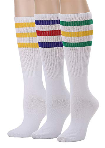 Leotruny 3 Pairs Over the Calf Tube Socks (C01-3pairs Multicoloured)