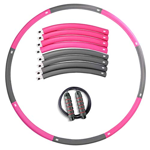 OYACH Hullahub Hula Reifen, Slim Fitness Hoola Hoop mit 2.8m Springseil/8 Abnehmbarer Knotens(28.7-37.4 Zoll), Hullahub Hooping Reifen zur Abnehmen für Erwachsene Anfänger Profis und Kinder Rosa