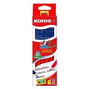Kores – Lápiz de dos colores (3 cantos, 3 mm, 6 unidades), color azul y rojo
