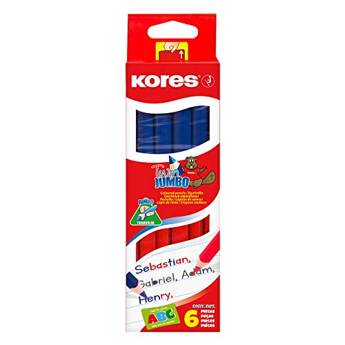 Kores Buntstift Twin Jumbo, 3-kant, 3 mm, 6 Stxfcck, blau/rot