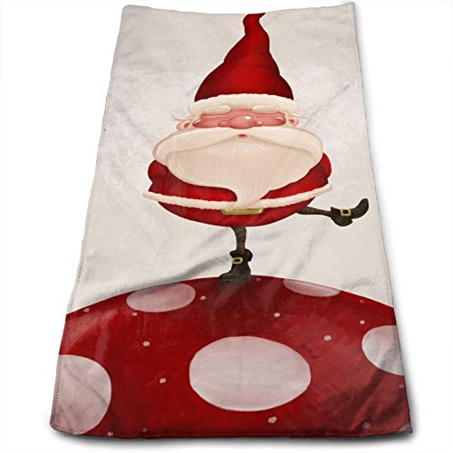 Cute Christmas Father Highly Absorbent Hand Towel Kitchen Towel Xmas Santa Claus Red Mushroom Ultra Soft Skin-Friendly Bathroom Towel for Women Men Kids Adults Bath/Hand/Face/Gym/Spa