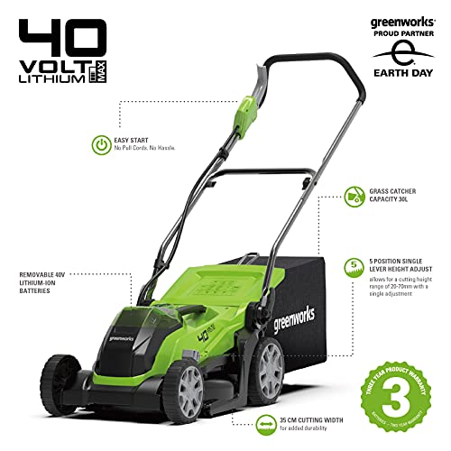 Greenworks Cordless Lawnmower G40LM35K2X (Li-Ion 40 V 35 cm Cutting Width up to 400 msq 2-in-1 Mulching & Mowing 40 l Grass Bag 5-level Cutting Height Adjustment Incl. 2 Battery 2 Ah & Charger)