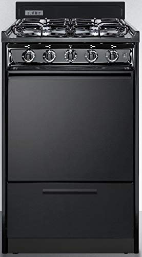 """Summit Appliance TTM1107CS 20"""" Wide Gas Range in Black with Four Sealed Burners, Push-to-turn Burner Knobs, Broiler Compartment, Porcelain Construction, Oven Racks and Electronic Ignition"""