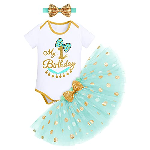 FYMNSI Disfraz de princesa para niña, Blancanieve, Cenicienta, Bella Durmiente, disfraz de Sofía para cumpleaños, conjunto de 3 piezas Verde - Mi primer cumpleaños 12 meses