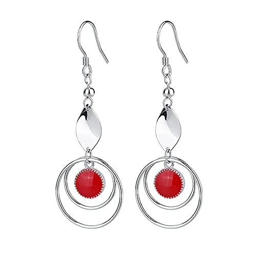 AZPINGPAN S925 Pendiente de Gota de Anillo de Plata esterlina, Pegamento de Gota Rojo Estilo francés Estilo de Oreja Larga Moda Dama Simple 1 par de Joyas Regalo de San Valentín