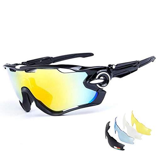 GIEADUN Occhiali Ciclismo Polarizzati con 3 Lenti Intercambiabili Occhiali Bici Antivento e Antiappannamento Occhiali Sportivi da Sole Anti UV da Uomo Donna per Corsa, MTB e Running (Nero bianco)