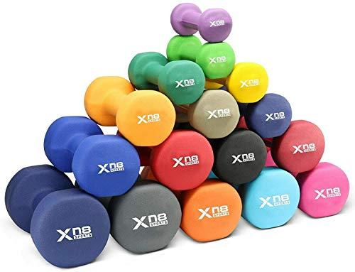 XN8 Neopren Hanteln 2er Set Hantelgewichte von 1-10 kg- Gewichte Kurzhantel Set für Gymnastik Aerobic Pilates Frauen Männer (Schwarz, 10Kg Pair = (10 * 2 = 20Kg))