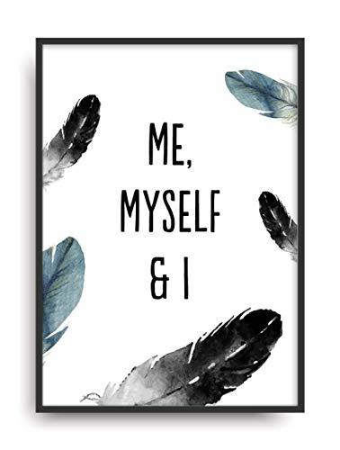 Kunstdruck ME, MYSELF & I Fine Art Poster Print Plakat moderne Vintage Deko Bild ohne Rahmen DIN A4 Geschenk