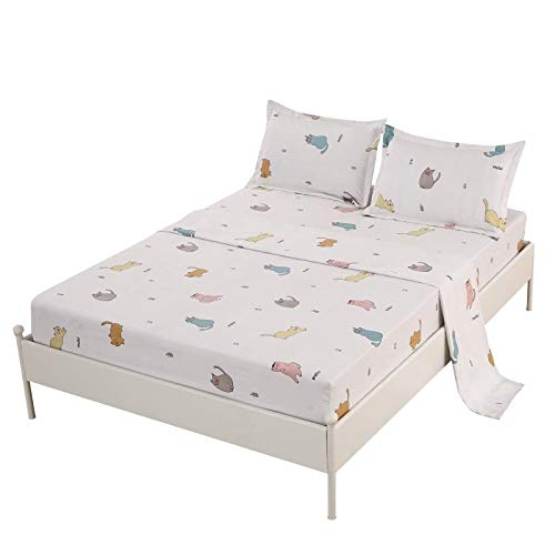 SDIII 3PCS Cute Cat Bedding Sheet Sets Twin Size Animal Bed Sheets with Flat Fitted Sheet for Boys, Girls and Teens