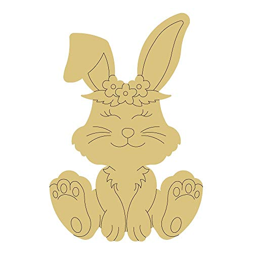 Rabbit Design by Lines Cutout Unfinished Bunny Easter Spring Door Hanger MDF Shape Canvas Style 16 Art 1
