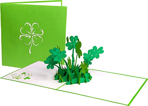 PrimePopUp | Kleeblätter Glücksklee | 3D Pop Up Grußkarte | Abitur | Gute Besserung Karte | Viel Glück | Alles Gute | Gesundheit | Erfolg | Geburtstagskarte für Geldgeschenk oder als Gutschein