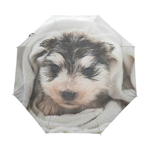 XiangHeFu Paraplu Grappige Hond Puppy Handdoek Auto Open Sluiten 3 Vouwen Lichtgewicht Anti-UV