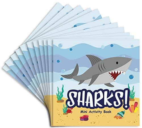 Shark Party Favors Mini Activity Book for Sharks Goodie Bags, 12 pack, 4.75 x 4.75 inches