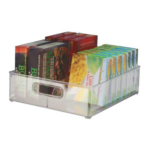 iDesign Fridge/Freeze Binz Kühlschrankbox, Aufbewahrungsbehälter aus Kunststoff mit zwei Fächern, durchsichtig