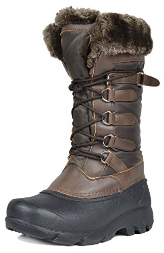 DREAM PAIRS Women's Tapanz Brown Faux Fur Lined Mid Calf Winter Snow Boots Size 10 M US