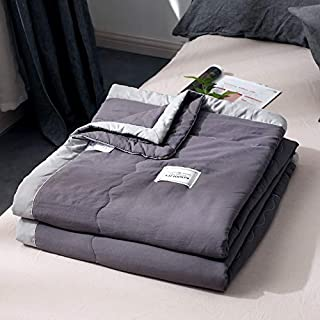 ZOUJIN Solid Color Blanket Soft Washed Cotton Single Queen King Comforter Air conditioning Quilt (Color : Light gray, Size...