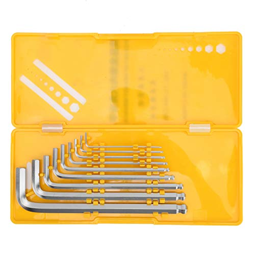 Juego de llaves hexagonales Allen de 9 piezas, llave hexagonal de cromo níquel pulido con extremo de bola, caja amarilla
