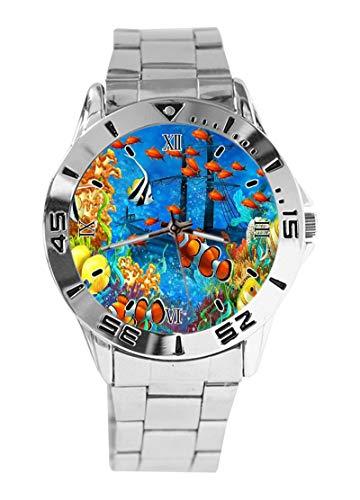 Ocean Fishes - Reloj analógico de Cuarzo con diseño de Barco Pirata...