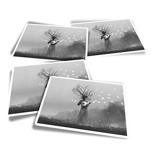 Vinyl Rectangle Stickers (Set of 4) - BW - Creature Banjo Butterfly Fantasy Fun Decals for Laptops,Tablets,Luggage,Scrap Booking,Fridges #35960