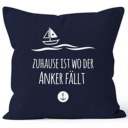 MoonWorks Housse de coussin avec inscription en allemand « Zuhause ist wo der Anker fallen Familie Heimat Liebe » - 40 x 40 cm - Coton marine