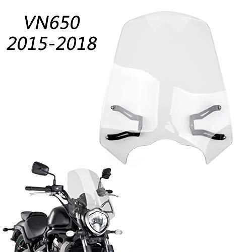 Artudatech Moto Parabrisas, Motocicleta Delantero Parabrisas con Soportes Deflector de Viento Windshield para KAWASA-KI Vulcan S 650 2015-2018