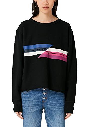 Q/S designed by - s.Oliver Damen 2004840 Sweatshirt, Schwarz (Black Placed Print 99d0), 38 (Herstellergröße: M)