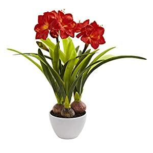 Nearly Natural Amaryllis Artificial White Vase Silk Arrangements, Red