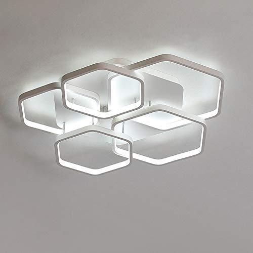 Lámpara de Techo LED Regulable Con Diseño de 5 PolíGonos, Luz de Techo Para Dormitorio Blanca, Luces de Sala de Estar Hecha de Metal, Estudio Lámpara de Cocina Decoración Control Remoto, Ø64 cm 54 W