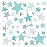 Little Deco Adhesivos decorativos para pared con forma de estrellas, color turquesa, menta y gris, 60 estrellas, para el dormitorio, set de colores variados, autoadhesivos DL399