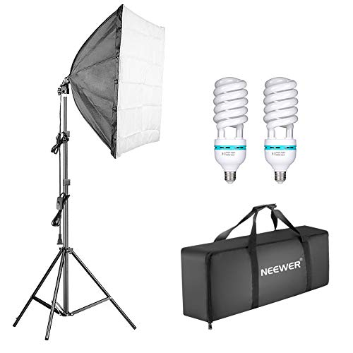 Neewer 1350W Kit Iluminación Softbox Continuo Fotografía 24x24 Pulgadas Equipo Profesional Estudio Fotográfico con 2 Piezas E27 Socket 5500K Bombilla Iluminación de Video para Retratos Filmación
