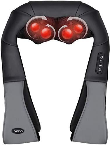 Naipo Nackenmassage Nacken Schulter Elektrisch Massage Nackenkissen Massagegerät mit 3 Einstellbaren Geschwindigkeiten Muskel Schmerzlinderung zu Hause Büro und Auto