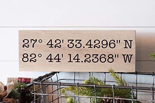 Latitude Longitude Wood Sign