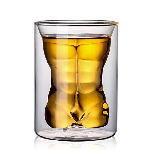 HBFLJYT Modelo Creativo de Belleza Sexy Vaso de Whisky de Vidrio con Doble Aislamiento Resistente al Calor, Copa de Vino para Cerveza, Vino, Jugo y champán