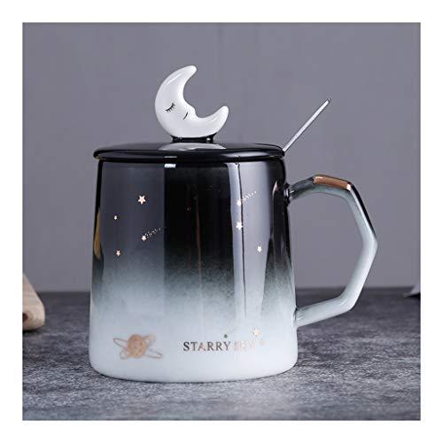 Taza Puesta de sol romántica estrellada 13,5 oz tazas de cerámica con tapa de plata cuchara de porcelana café con leche tazas de té Oficina Copa de viajes for amantes de las mujeres Amigos regalos Taz