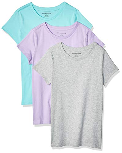 Amazon Essentials Girls' 3-Pack Short-Sleeve tee Camiseta, Lilac/Heather Grey/Aqua, XS (5)