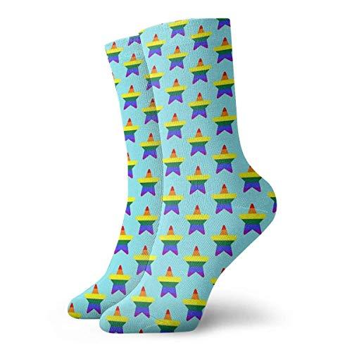 Kteubro Su-Inspired Pride Star Calcetines clásicos de ocio y deporte cortos 30 cm/11.8 pulgadas adecuados para hombres y mujeres