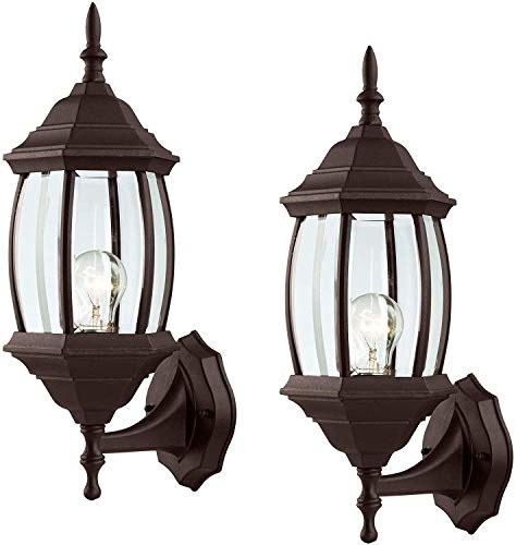2 Pack Outdoor Exterior Wall Light Fixture Lantern Porch Patio Downlight/Uplight, Oil Rubbed Bronze