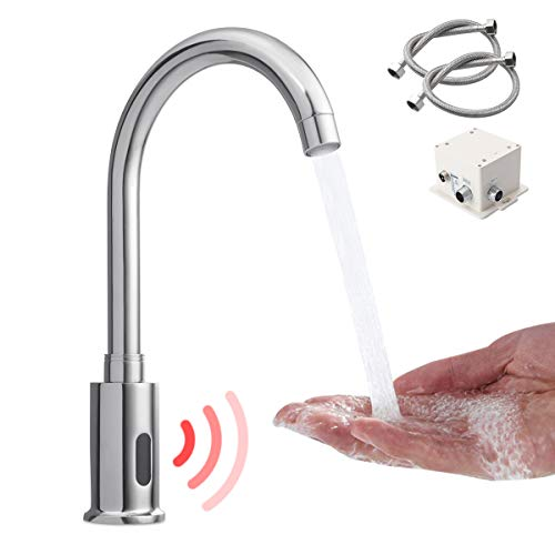 Grifo de sensor de latón con luz de fuego automático con sensor infrarrojo inteligente sin contacto para fregadero de cocina (2 mangueras incluidas)