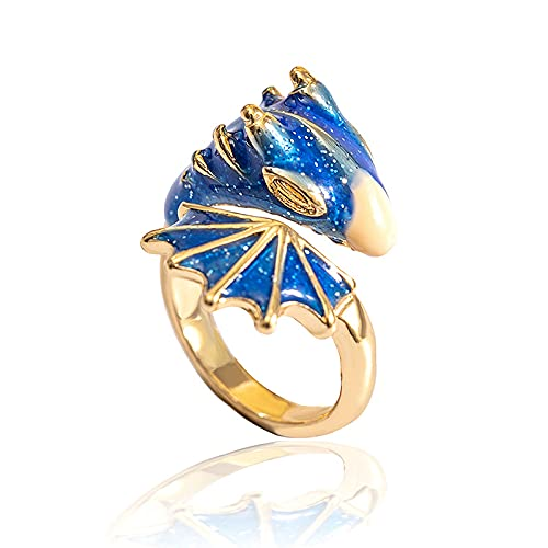 Gold Topaz Dragon Ring Lucky Finger Pet, Dragon Ring Devil Tail Arrows Adjustable Rings Gothic Dragon Open Ring, Knight Dragon Ring With Sparkling Enamel Dragon Ring For Women Men (Blue)