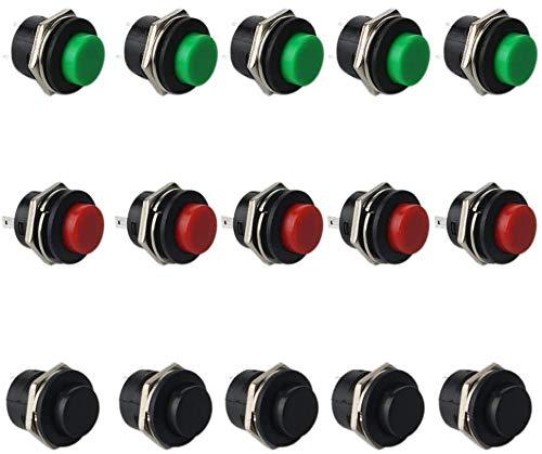 RUNCCI -YUN 15 x SPST interruttore a pulsante rotondo, a pressione, momentaneo, AC 6 A/125 V 3 A/250 V