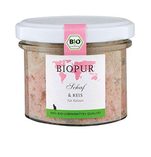 Biopur Bio kattenvoer vochtig rund, rijst 400g in het glas Glutenvrij, 12-pack (12 x 100 g)