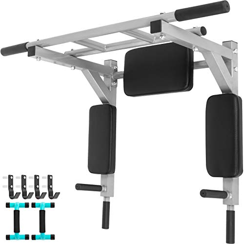Bkisy Wall Mounted Pull Up Bar 2 in 1 Chin-Up Bar Dip Stand Power Home Gym Tower Set for Home Gym Strength Training Equipment for Home Gym Strength Training