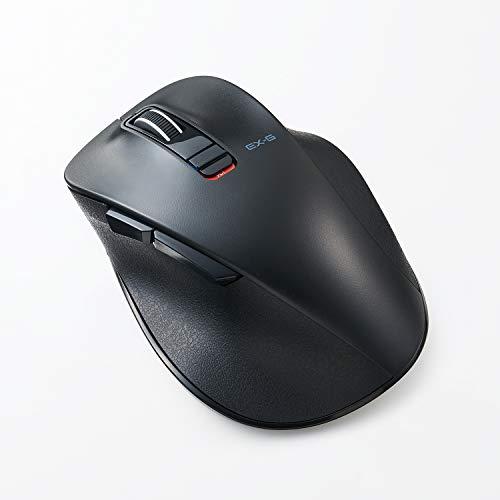 ELECOM Dr.EXG Bluetooth Mouse 極‐Kiwami- Mouse Extreme Ergonomic Design Less Noise BlueLED Large Size 5 Button Black (M-XGL10BBSBK-US)