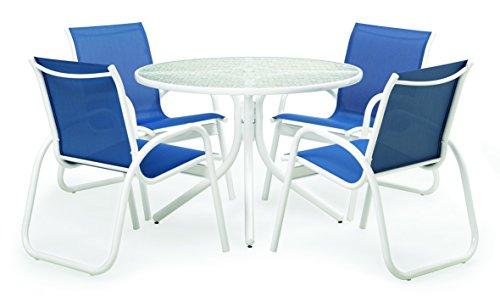 Telescope Casual SET00901 Gardenella, White, Cobalt Patio Dining Set