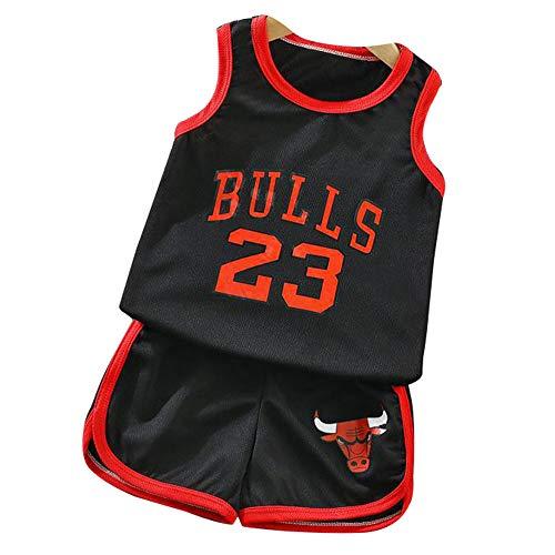 Jordrn Bulls # 23 Basketball Trikots Baby für Jungen Mädchen, Tops T-Shirts Weste Stickweste Uniform Uniform Outdoor Sport Atmungsaktive Sportbekleidung Kinder-black-110