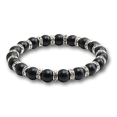 YITIANTIAN Pulsera de Distancia Negra Mate de Cuentas de Piedra Natural de 8 mm con Pulseras de Cuerda de Diamantes de imitación brazaletes Mujeres Hombres joyería Pulsera de Regalo de Yoga